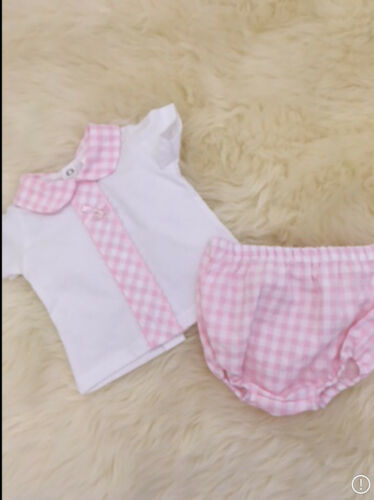 SPANISH STYLE BABY PINK GIRLS CHECKED JAM PANTS T-SHIRT  3,6,12,18,24 MONTHS B
