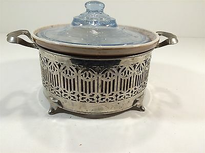 Bakeware Expressive Vintage Ohio 153 Baking Casserole With Blue Glass Lid & Silver Stand Crazy Price Kitchen, Dining & Bar