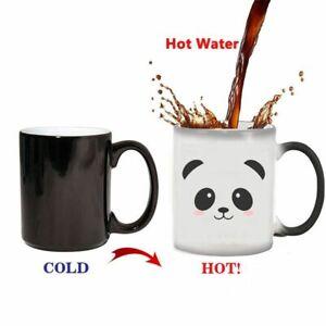 Ceramic Color Changing Panda Coffee Mugs Heat Reveal Porcelain Type Magic Cups