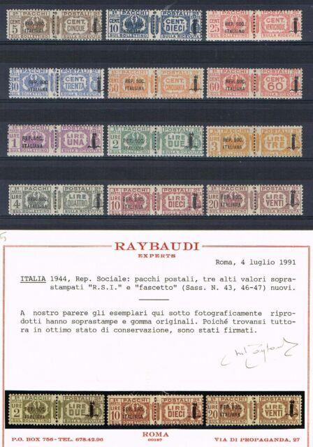 FRANCOBOLLI REGNO 1944 REPUBBLICA SOCIALE RSI FASCETTO PACCHI POSTALI * RAYBAUDI