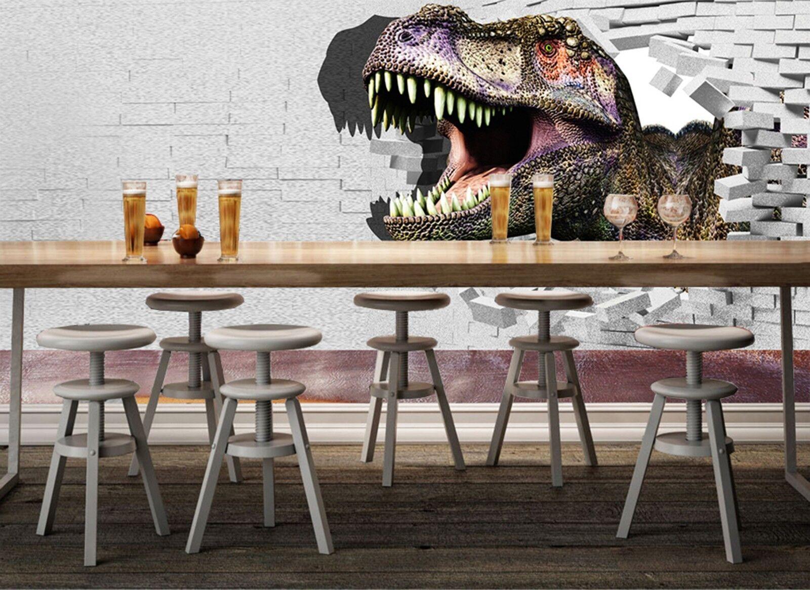 3D dinosaurs Cartoon Wall Paper Print Decal Wall Deco Indoor wall Mural