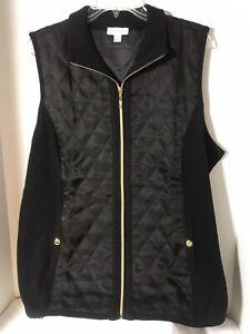 Susan-Graver-Zip-Front-Sweater-Vest-with-Quilting-Detail-Size-XS-Black-Color