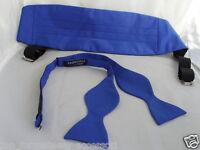 Royal BLUE Self-tie Bow Tie and Cummerbund Set + Instruct-Free P&P 2UK 1st Class
