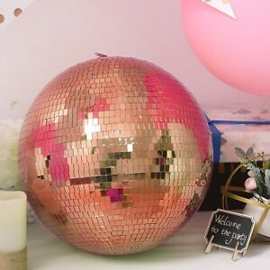 16 Wide Rose Gold Glass Mirror Disco Ball Ornament Wedding Events Decorations Ebay