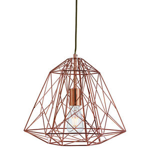 Image Is Loading Copper Geometric Cage Frame Shade Ceiling Pendant Light
