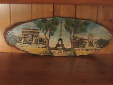 Ancien Cadre Ovale Bois Peinture Sérigraphie VINTAGE Souvenir PARIS PANORAMA