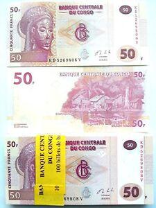CONGO FULL BUNDLE OF 100 X 50 FRANCS UNC BANKNOTES