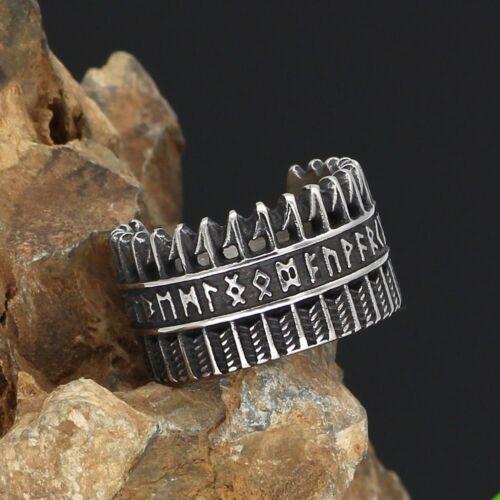 316L Acero Inoxidable Vikingo runas y flechas Anillo nórdico antiguo Bolsa De Regalo