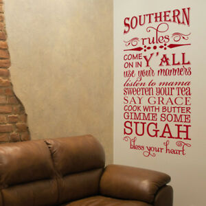 Southern Rules Say Grace Cook With Butter Vinyl Wall Decal Quote L181 Ebay