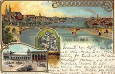 Suisse Gruss aus Basel litho 1902 postcard