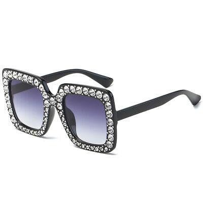 Retro Oversized Square Frame Bling Rhinestone Sunglasses Women Fashion Shades