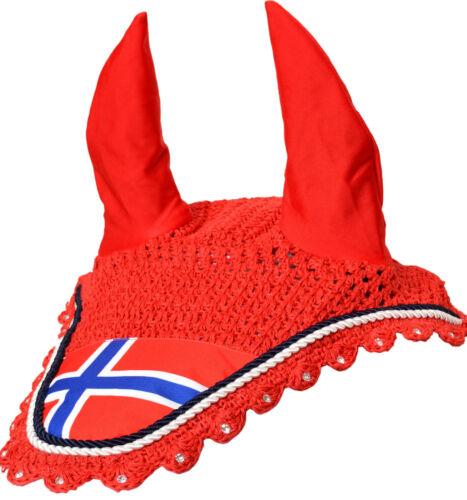 NORWAY FLAG FLY VEIL HORSE EAR BONNET HOOD COTTON CROCHET HAT EQUESTRIAN EQUINE