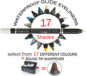 MAKKI-WATERPROOF-GLIDE-EYELINER-PENCIL-ROUND-TIP-SHARPENER-LONG-STAY-ULTRA-SOFT