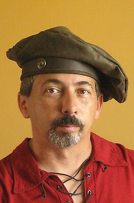Medieval Celtic Renaissance SCA Larp Tudor Troop Leather Hat Beret with Concho
