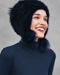 384ce6994 Details about Jocelyn MINK AND FOX FUR pom pom Black Aviator Trapper Hat  $389 NWT SOLD OUT O/S