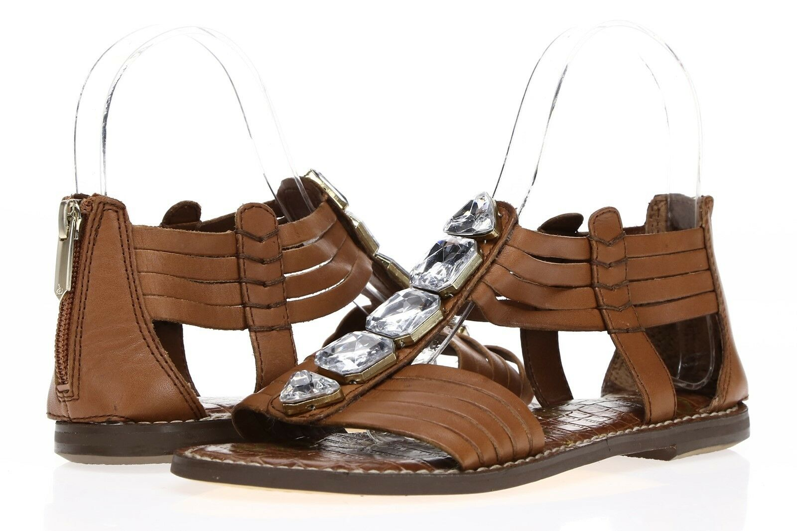SAM EDELMAN Damenschuhe 'Galina' Braun Leder Crystal Embellished Sandales Sz 6