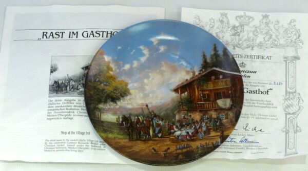 """rast Im Gasthof"" Stop At The Village Inn Collectors Display Plate Coa Ltd Ed Per Spedizioni Veloci"