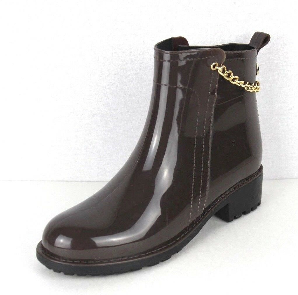 Nicole Miller New York Chain women's brown ankle rain boot size 8