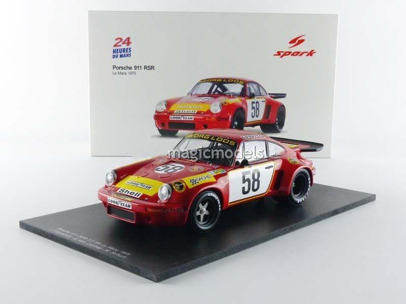 Spark Porsche 911 RSR 3.0 24 H le mans 1975  58 en échelle 1 18. Nouvelle version