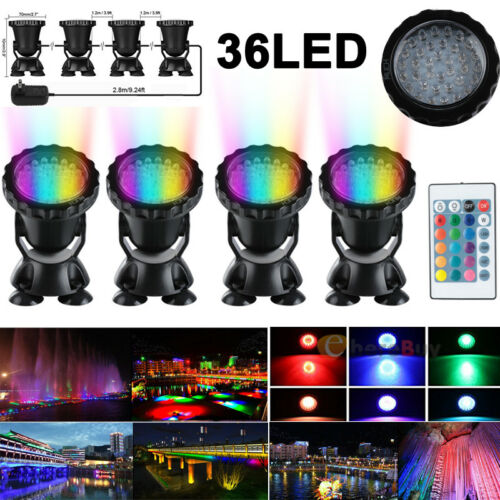 36 LED RGB Submersible Pond Spot Lights Underwater Pool Fountain IP68 +IR Remote