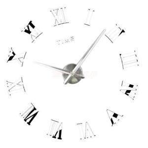 Details zu Moderne große 3D Uhr Wandaufkleber römische Zahl Uhr DIY Home Decor Silber