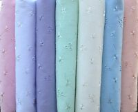 Broderie Anglais 3 Hole PolyCotton Fabric Blue White Lilac Pink Mint Peach Ivory