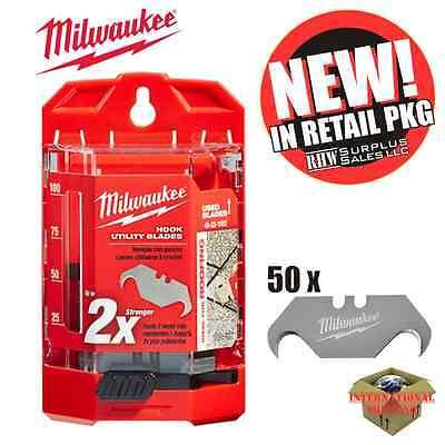 Milwaukee 48-22-1952 50 PC Hook Utility Knife Blades w/ Dispenser New