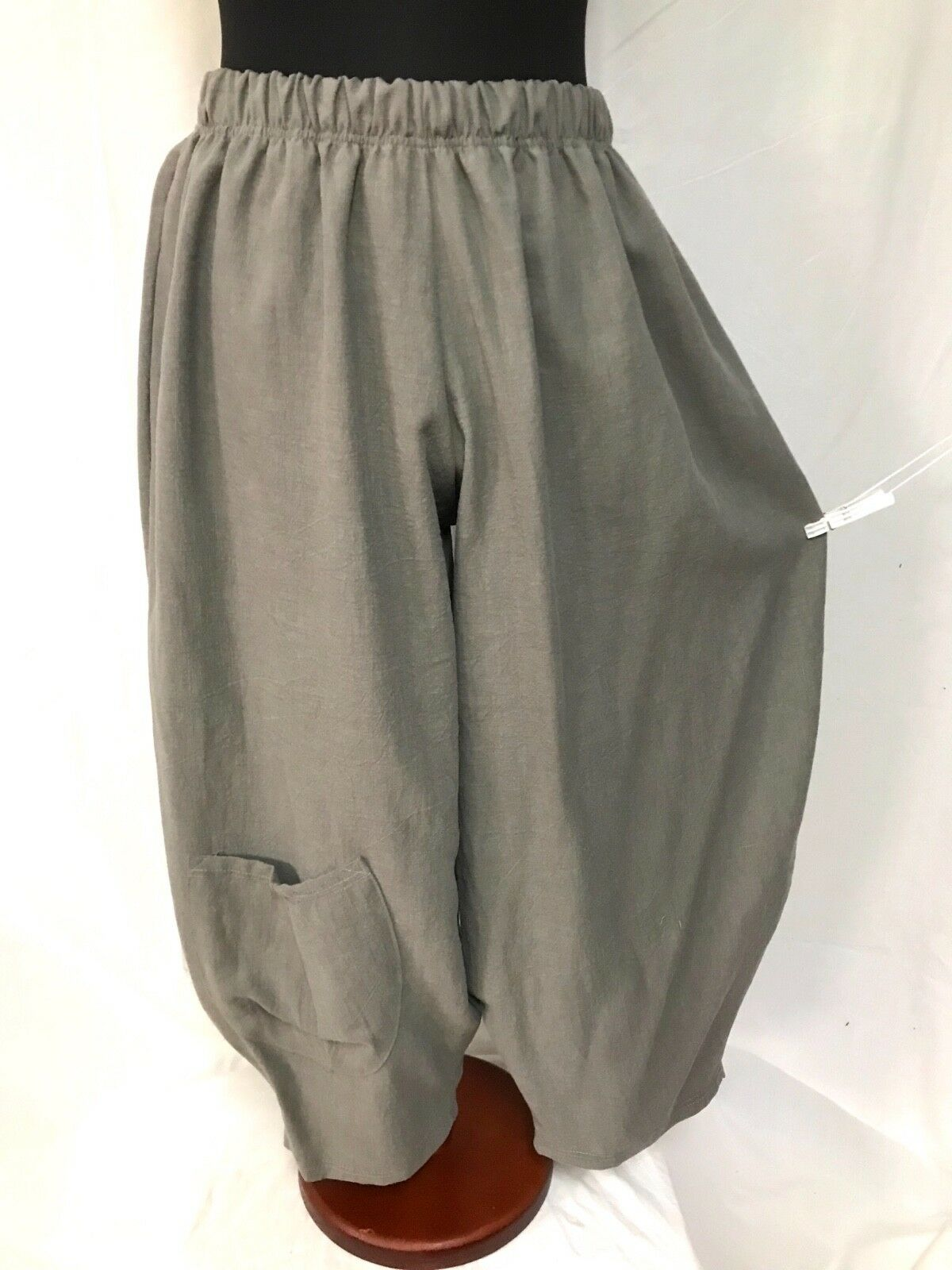 Lagenlook OverGrößed Washed Linen Balloon Trousers Bag Putty 48,50,52,54,56