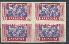 Spain Zaragoza seminary old cinderella block 4 MNH