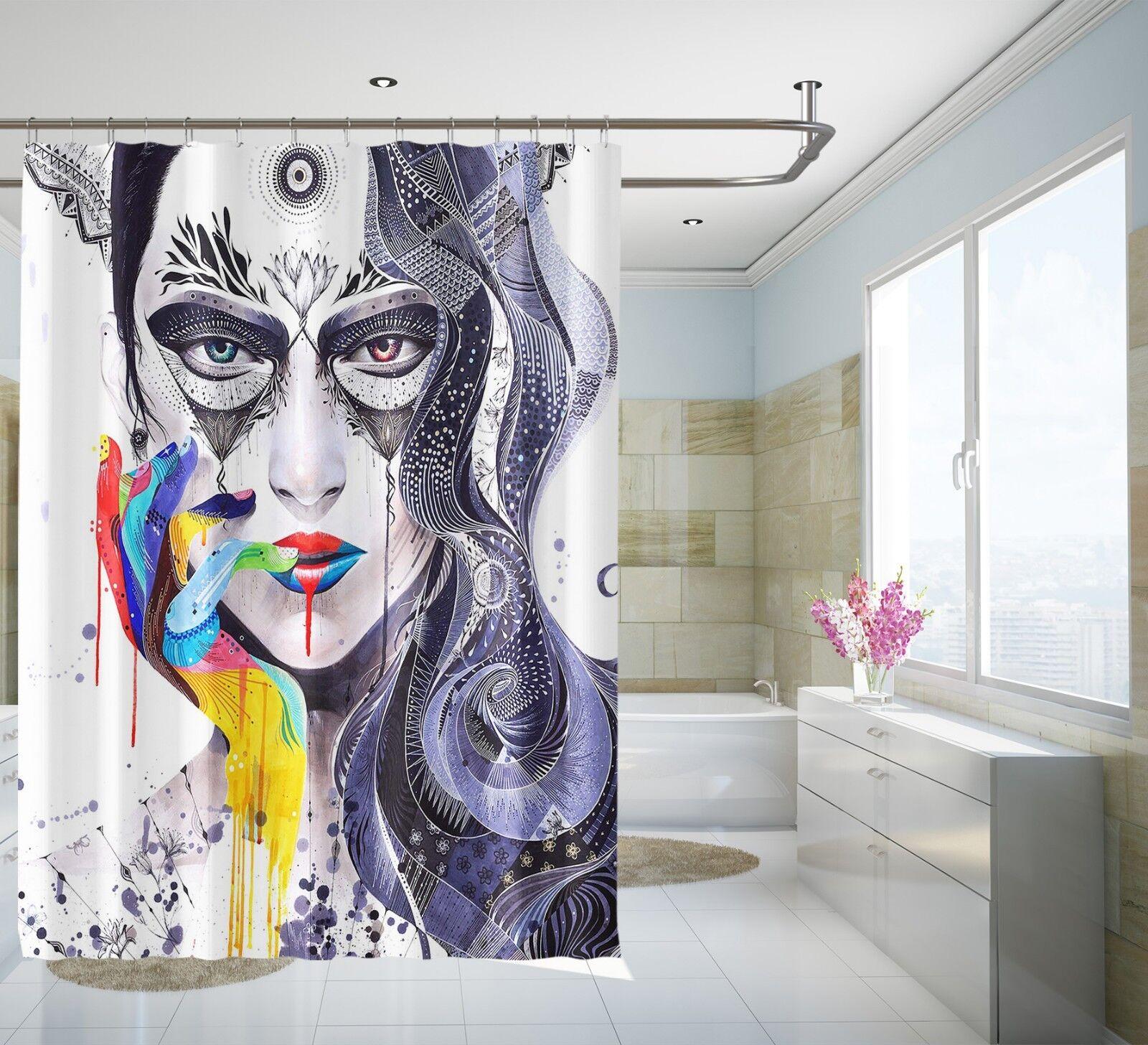 3D Couleuré Visage 41 Rideau de Douche Imperméable Fibre Salle de Bain Home Windows Toilette