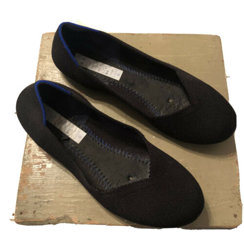 Rothys The Flat Solid Black Blue Halo Slip On Knit