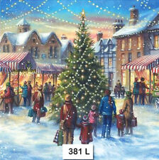 (381) TWO Individual Paper Luncheon Decoupage Napkins - CHRISTMAS TOWN, TREE