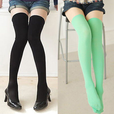 Solid Color Women Lady Girl Thigh High Stockings Over Knee Cotton Long Socks