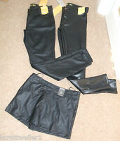 Primark Size 6 8 10 12 14 16 Black Faux Leather Look Pvc Skinny Trousers Shorts
