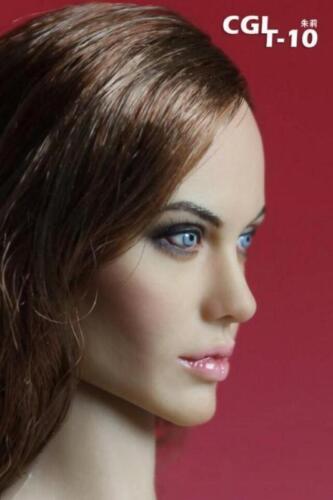 "CGL 12/"" Female Head Sculpt Action Figure Body 1:6 Scale Angelina Jolie Girl F"