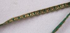 Vintage Gold Metallic Trim w/Emerald Green Viscose Accent French