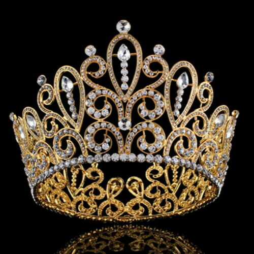 Large Round Gold Crown Wedding Bridal Party Pageant Prom 11cm High 16.5cm Wide