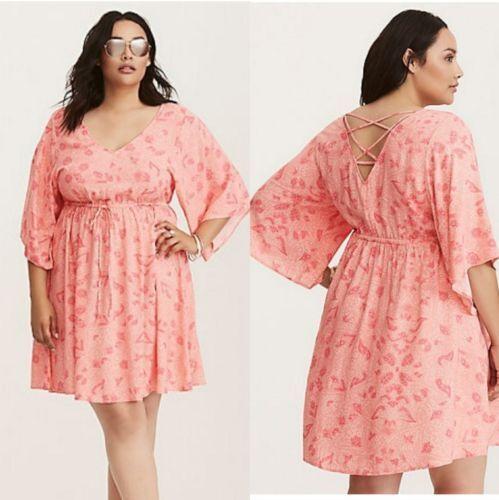 Size 14//16 Torrid Coral Floral Challis Lattice Bell Sleeve Dress Rayon Size 1X