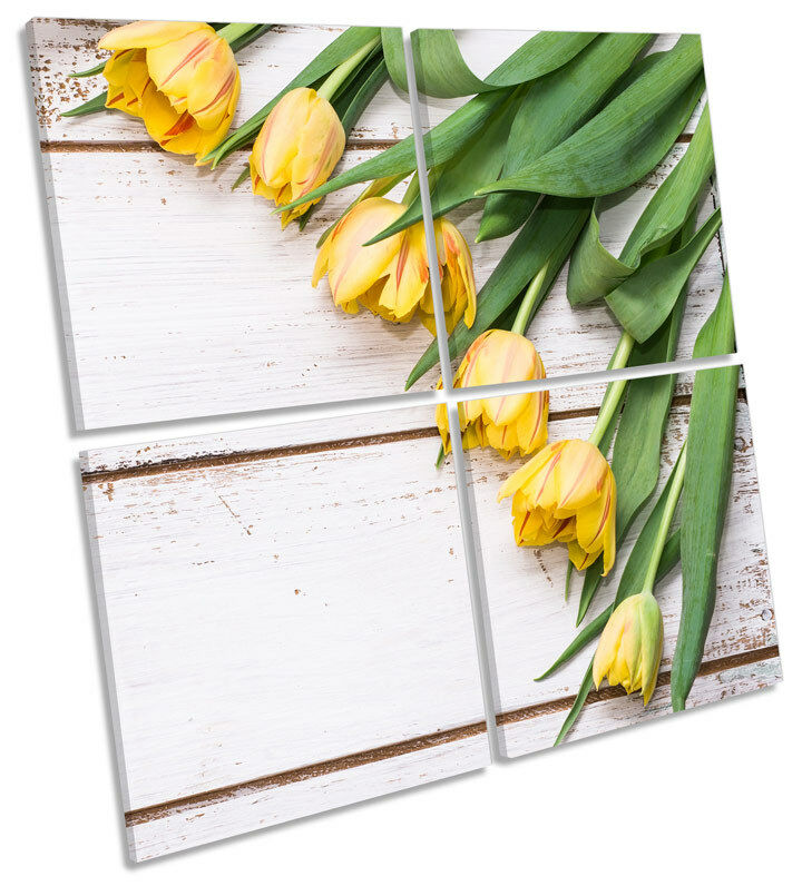 Tulip Flowers on Floorboards MULTI CANVAS WALL ART Square Picture