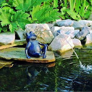 Wasserspeier-Frosch-Teichfigur-Teich-Garten-Figur-Springbrunnen-Dekoration-OVP