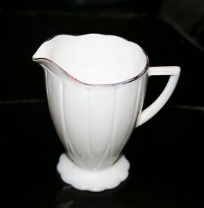 Vintage-Hazel-Atlas-Glass-Newport-White-with-Gold-Trim-Creamer-2-Available-Nice