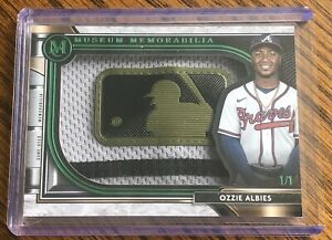 RARE!!! 2021 Topps Museum Collection Ozzie Albies 1/1 MLB Logo GAME USED SP 🔥