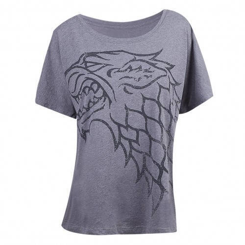 Game Of Thrones GOT House Stark Winter Is Coming Direwolf Womens Grey T-Shirt