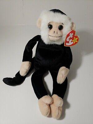 "black and white,9.5/"" MWMT Ty Beanie Baby Mooch spider monkey 1998 plush"