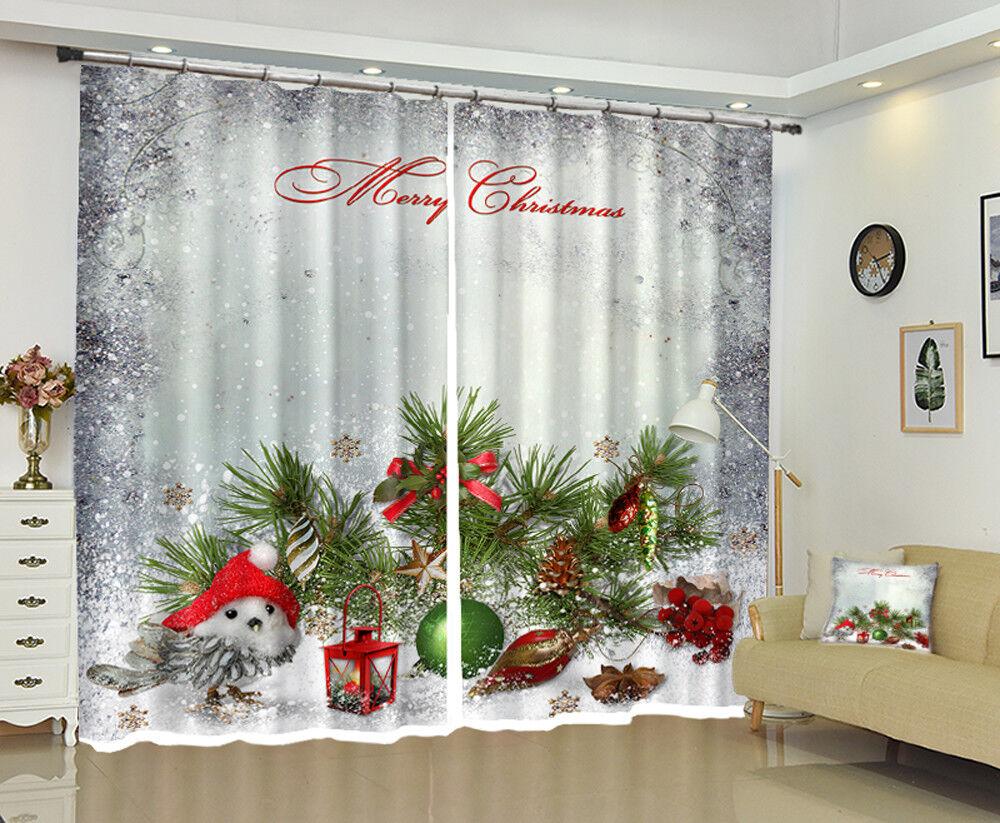 3D navidad navidad Cortina de foto 141 Blockout Impresión Cortinas Ventana De Tela Reino Unido
