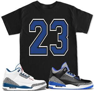 7e724f3c7252 23 Blue T Shirt to match with Air Jordan Retro 3 True Blue Cement OG ...