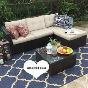 3497bde6d1f4 PHI VILLA 3-Piece Outdoor Patio Sofa- Patio Wicker Furniture Set ...