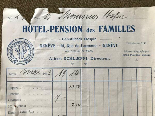 Facture 1913 Hotel-pension Des Familles Christl.hospiz Genéve,schlaeppi,en-tête Rabatte Verkauf