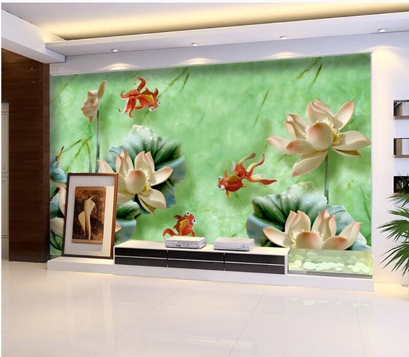 3D goldfish Lotus Marble 793 Wall Paper Wall Print Decal Wall AJ WALLPAPER CA