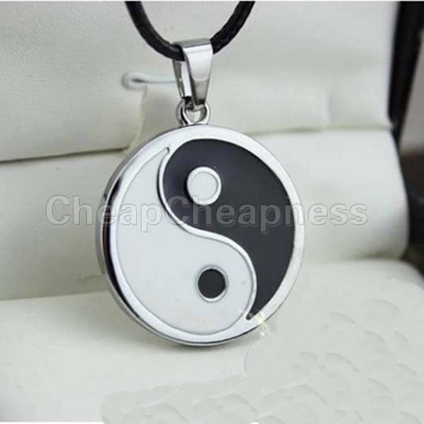 Yin Yang Pendant Black White Necklace Glamour with Black Fake Leather Cord FTUS